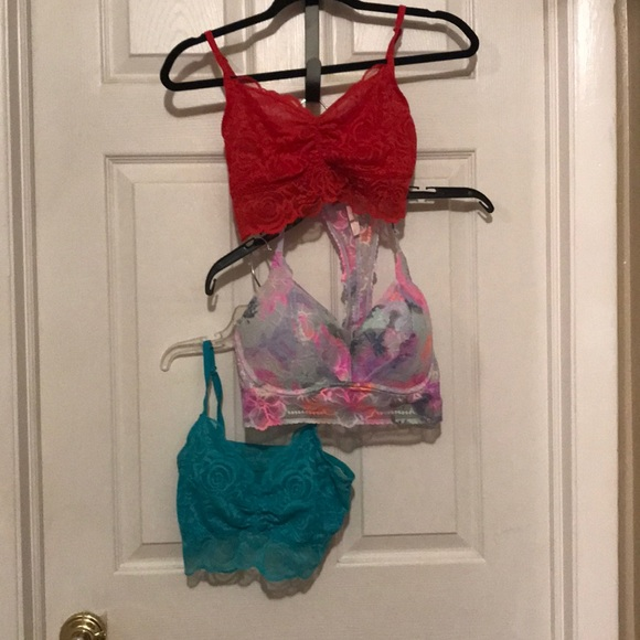 3 PINK Bralettes / Bandeaus all size Large